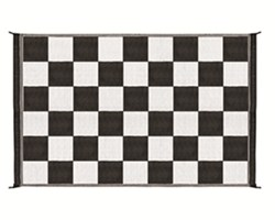 Camco Reversible RV Leisure Mat - 9' Long x 6' Wide - Black and White Checkered