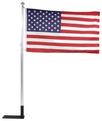 Telescoping Flagpole w Car-Foot Base, Mount, Bag, and American Flag - Aluminum - 20' Tall