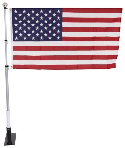telescoping flagpole w carfoot base mount bag and american flag fiberglass 16u0027 tall camco patio accessories cam51606