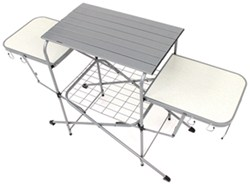 Camco Deluxe Folding Grill Stand - Steel Frame and Aluminum Tabletops