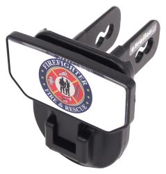 "Carr Hitch Mounted Step for 2"" Trailer Hitches - Black Powder Coat Aluminum - Firefighter"
