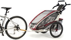 Thule CX Bike Trailer and Stroller - 2 Child - Burgundy/Red/Silver - 12 Months and Older