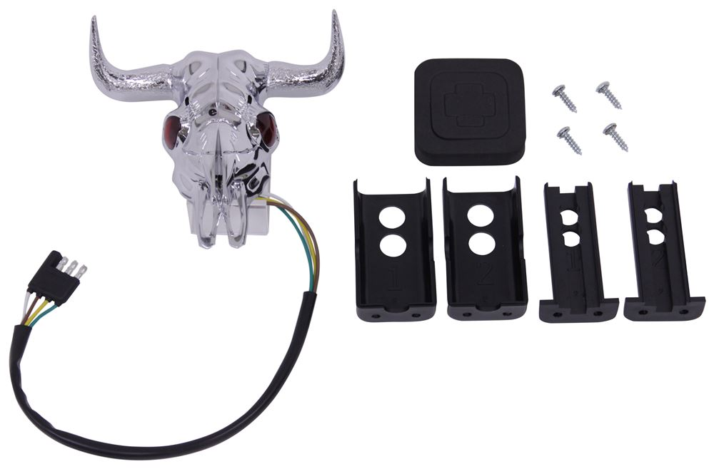 Bull skull with red led eyes trailer hitch receiver cover