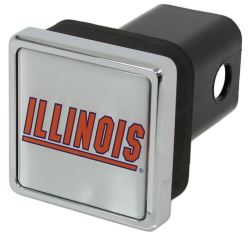 "Illinois Fighting Illini Trailer Hitch Receiver Cover - 2"" Hitches - Square - Chrome Plated"
