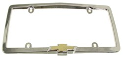 Chevy License Plate Frame - Chrome Plated Metal - Gold Bowtie