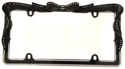 Ribbon Bling License Plate Frame - Black, Chrome - Clear Crystals
