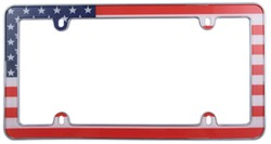USA Flag License Plate Frame - Red, White, Blue and Chrome