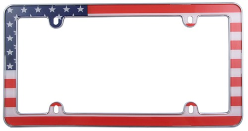 Usa Flag License Plate Frame Red White Blue And Chrome Cruiser