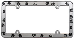 Paws License Plate Frame - Black and Chrome