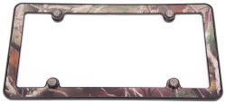 Camo License Plate Frame with Fastener Caps - ABS Plastic - Black, Brown, Green, Gray