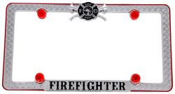 Firefighter License Plate Frame with Fastener Caps - Die Cast Zinc - Chrome, Black, Red