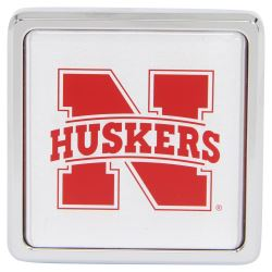 "Nebraska Cornhuskers NCAA Logo 2"" Trailer Hitch Cover - Square, Chrome"