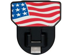 Carr Custom-Fit Tow-Hook-Mounted Step - Black Powder Coat Aluminum - American Flag Graphic - Qty 1