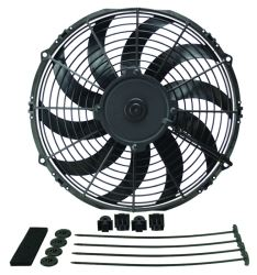 "Derale 12"" High-Output, Extreme Curved-Blade Electric Fan - 1,328 CFM"