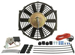 "Derale 10"" Dyno-Cool Straight-Blade Electric Fan with Thermostat Control - 500 CFM"
