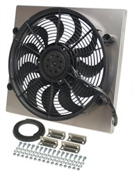 "Derale 17"" High-Output, Electric Radiator Fan w/ Aluminum Shroud Assembly - 2,400 CFM"