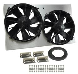 "Derale 25-5/8"" Dual High-Output, Electric Radiator Fan w/ Aluminum Shroud - 4,000 CFM"