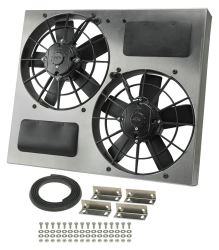 "Derale 22-1/2"" Dual, High-Output Electric Radiator Fan w/ Aluminum Shroud - 3,750 CFM"
