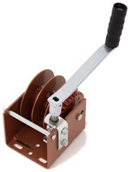 Dutton-Lainson Worm Gear Hand Winch with Hex Drive and Split Reel for 2 Cables - 1,500 lbs