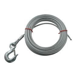 "Hand Winch Cable with Safety Hook 1/4"" Diameter x 50' Long - 3,500 lbs"