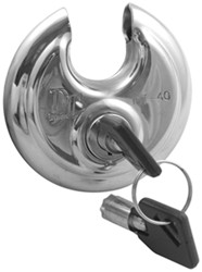 "Disc-Style Padlock w/ Tube Key - Stainless Steel - 2-3/4"" Round - 3/8"" Diameter Shackle"