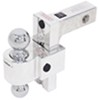 "Self-Locking, Adjustable 2-Ball Mount w Chrome Balls - 2"" Hitch - 6"" Drop, 7"" Rise"
