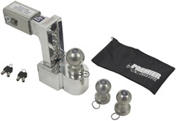 "Self-Locking, Adjustable 3-Ball Mount, Stainless Balls - 2.5"" Hitch - 6"" Drop/7"" Rise"