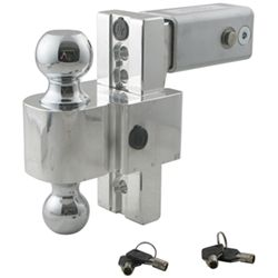 "Self-Locking, Adjustable 2-Ball Mount w Chrome Balls - 2.5"" Hitch - 6"" Drop, 7"" Rise"