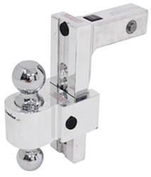 "Self-Locking, Adjustable 2-Ball Mount w Chrome Balls - 2"" Hitch - 8"" Drop, 9"" Rise"