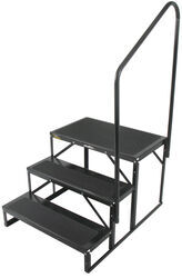"Econo Porch Trailer Step with Handrail and Landing - Double - 7"" Drop/Rise, 21"" Tall"