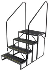 "Econo Porch Trailer Step w/ 2 Handrails and Landing - Triple - 7"" Drop/Rise, 27-1/2"" Tall"