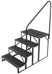 "Econo Porch Trailer Step with Handrail and Landing - Triple - 7"" Drop/Rise, 28"" Tall"