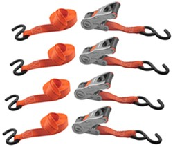 "Erickson Ratchet Tie-Down Straps w/ Web Clamps and S-Hooks - 1"" x 10' - 500 lbs - Qty 4"