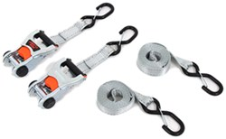 "Erickson Ratchet Tie-Down Straps w/ Web Clamps and S-Hooks - 1-1/4"" x 12' - 667 lbs - Qty 2"