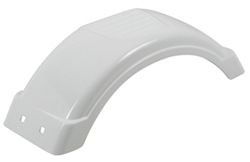 "Single Axle Trailer Fender w Top Step - Style C - White Plastic - 8"" to 12"" Wheels - Qty 1"