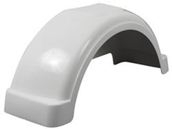 "Fulton Single Axle Trailer Fender with Top Step - White Plastic - 13"" Wheels - Qty 1"
