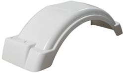 "Single Axle Trailer Fender w Top Step - Style B - White Plastic - 8"" to 12"" Wheels - Qty 1"