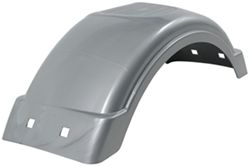 "Single Axle Trailer Fender w Top Step - Style C - Silver Plastic - 8"" - 12"" Wheels - Qty 1"
