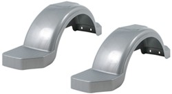 "Fulton Single Axle Trailer Fenders w Top and Side Steps - Silver Plastic - 14"" Wheels - Qty 2"