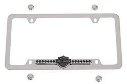 Harley-Davidson License Plate Frame - Bar & Shield w Black Swarovski Crystals - Bottom - Chrome