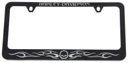 Harley-Davidson Willie G. Skull and Flames License Plate Frame - Black and Chrome