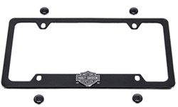 Harley-Davidson License Plate Frame - 3-D Black/Chrome Bar & Shield - Bottom - Matte Black