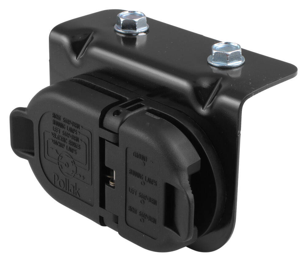 pollak 7 and 4 pole trailer connector socket w mounting. Black Bedroom Furniture Sets. Home Design Ideas