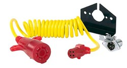 Hopkins Nite-Glow Tow Bar Extension Cord w/ Socket - Coiled - 7-Way RV to 4-Way Round - 8' Long