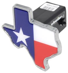 "State of Texas Flag 2"" Trailer Hitch Receiver Cover - Texas Shape - Zinc"
