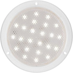 "LED Domed Utility/Multipurpose Light - 24 Diode - Sealed - 6"" Round - White w/ Clear Lens"