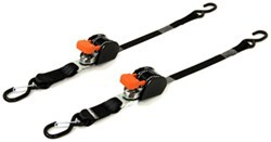 "CargoBuckle Mini G3 Retractable Ratchet Straps w S-Hooks - 1"" x 6' - 466 lbs - Qty 2"