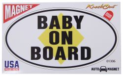 "Baby on Board Car Magnet - Oval - 6"" Long x 3-1/2"" Tall"