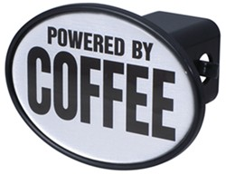 "Powered by Coffee 2"" Trailer Hitch Receiver Cover"
