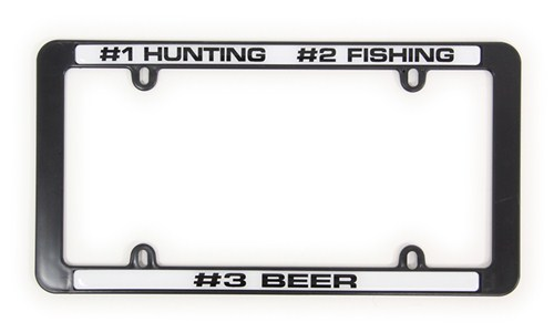 1 hunting 2 fishing 3 beer license plate frame for Fishing license plate